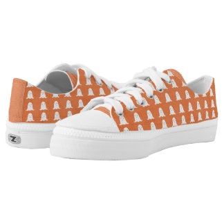 Orange and White Ghosts Low Tops