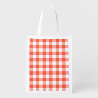 Orange And White Gingham Check Pattern