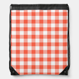 Orange And White Gingham Check Pattern Backpack