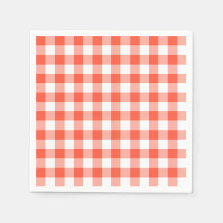 Orange And White Gingham Check Pattern Disposable Serviettes
