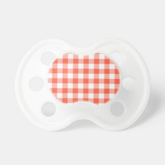 Orange And White Gingham Check Pattern Baby Pacifiers