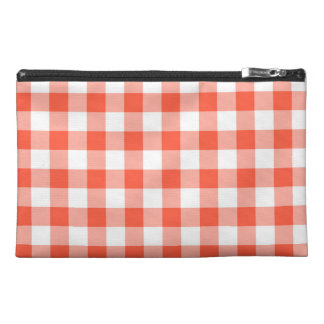 Orange And White Gingham Check Pattern Travel Accessories Bag