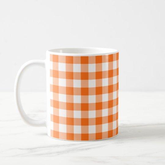 Orange and White Gingham Checked Pattern Coffee Mug
