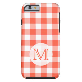 Orange And White Gingham Monogram Tough iPhone 6 Case