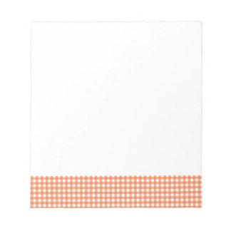 Orange and White Gingham Notepad