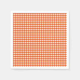 Orange and White Gingham Pattern Paper Serviettes