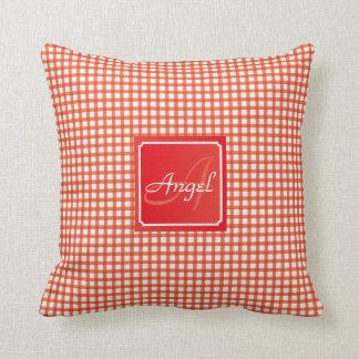 Orange and White Gingham Pattern Personalized Name Cushion