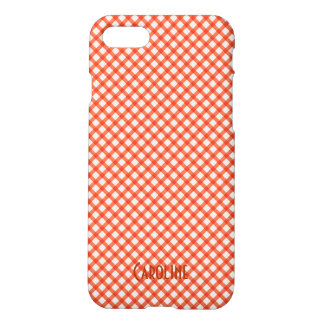Orange and White Gingham Pattern Personalized Name iPhone 8/7 Case