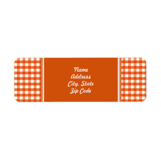 Orange and White Gingham Pattern Return Address Label