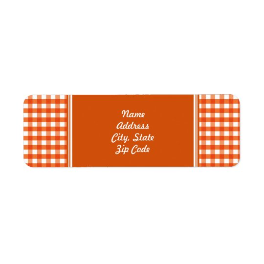 Orange and White Gingham Pattern Return Address Label