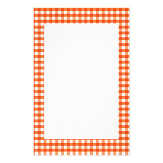 Orange and White Gingham Pattern Stationery