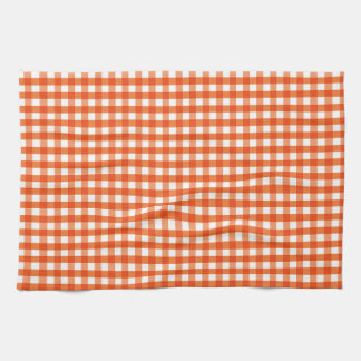 Orange and White Gingham Pattern Tea Towel