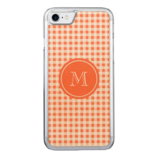 orange and White Gingham, Your Monogram Carved iPhone 8/7 Case