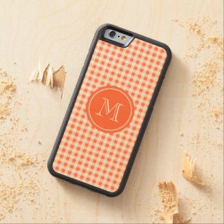 orange and White Gingham, Your Monogram Carved® Maple iPhone 6 Bumper Case