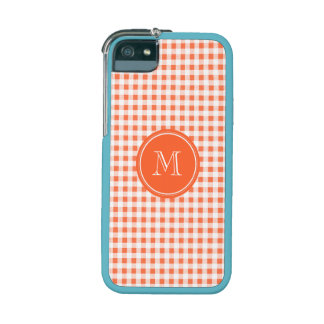 orange and White Gingham, Your Monogram iPhone 5 Covers