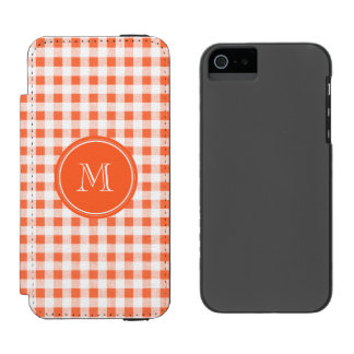 orange and White Gingham, Your Monogram Incipio Watson™ iPhone 5 Wallet Case