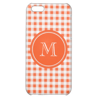 orange and White Gingham, Your Monogram Case For iPhone 5C
