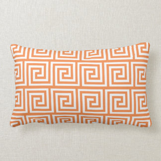 Orange and White Greek Key Pattern Lumbar Pillow