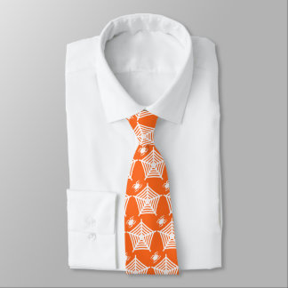 Orange and White Halloween Spider and Web Neck Tie