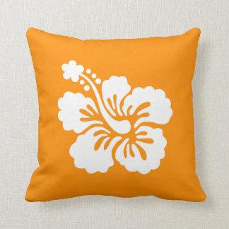 Orange and White Hibiscus Cushion