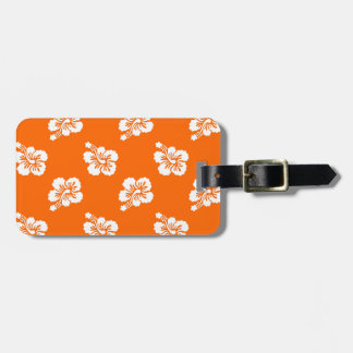 Orange and White Hibiscus Floral Luggage Tag