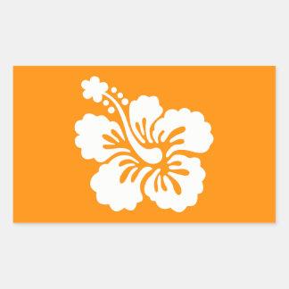 Orange and White Hibiscus Rectangular Sticker
