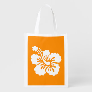 Orange and White Hibiscus Reusable Grocery Bag