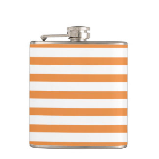 Orange and White Horizontal Stripe Hip Flask