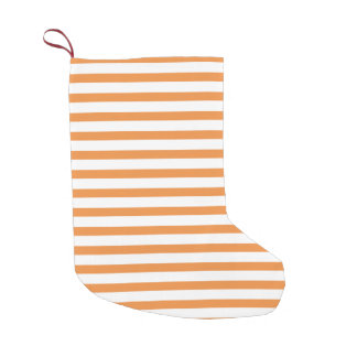 Orange and White Horizontal Stripe Small Christmas Stocking