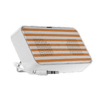 Orange and White Horizontal Stripe Travel Speakers