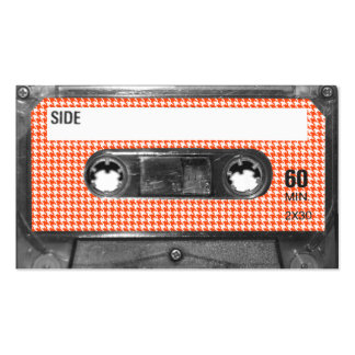 Orange and White Houndstooth Label Cassette Business Cards