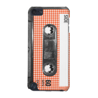 Orange and White Houndstooth Label Cassette iPod Touch 5G Cases