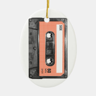 Orange and White Houndstooth Label Cassette Ornaments