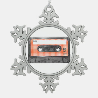 Orange and White Houndstooth Label Cassette Pewter Snowflake Decoration