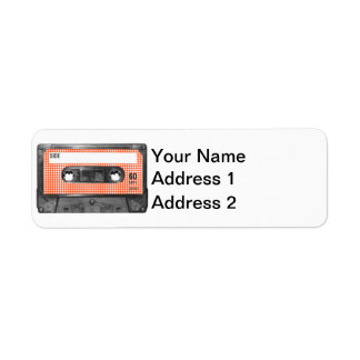 Orange and White Houndstooth Label Cassette Return Address Label