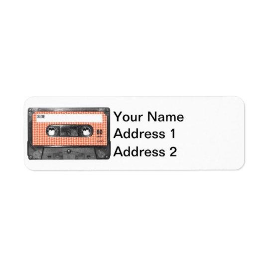 Orange and White Houndstooth Label Cassette Return Address