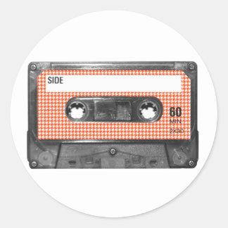 Orange and White Houndstooth Label Cassette Round Sticker