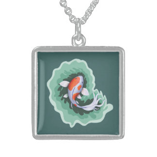 Orange and White Koi Sterling Silver Necklace