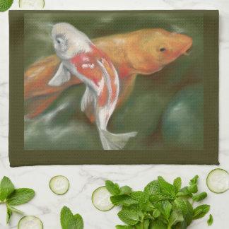 Orange and White Koi with Mossy Stone Personalized Tea Towel