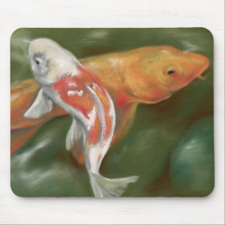 Orange and White Koi with Mossy Stones Pastel Art Mouse Mat