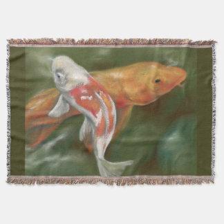 Orange and White Koi with Mossy Stones Pastel Art Throw Blanket