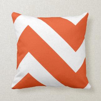 Orange and White Modern Chevron Geometric Cushion