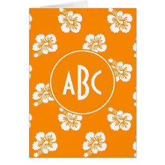 Orange and White Monogrammed Floral Pattern Greeting Card