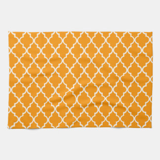 Orange And White Moroccan Trellis Pattern Tea Towel