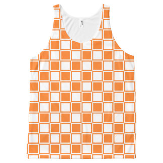 Orange and White Outlined Squares All-Over Print Tank Top