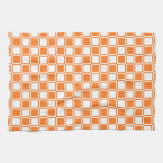 Orange and White Outlined Squares Tea Towel