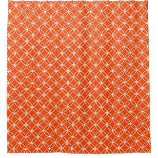 Orange and White Overlapping Circles Pattern Shower Curtain
