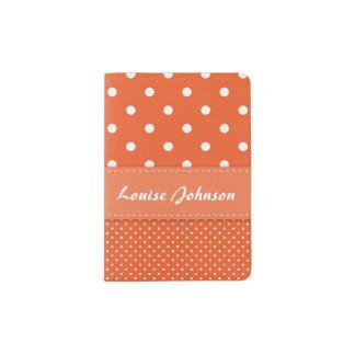 Orange and White Polka Dot Passport Holder