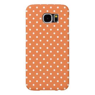 Orange and White Polka Dot Pattern Samsung Galaxy S6 Cases