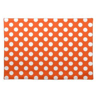 Orange and White Polka Dot Placemats